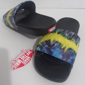 Vans Slides Sandals Tie Dye Blue, Yellow & Purple